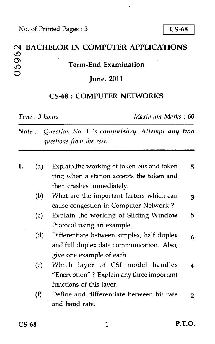 No. of Printed Pages : 3                          CS-68N BACHELOR IN COMPUTER APPLICATIONS                 Term-End Examin...