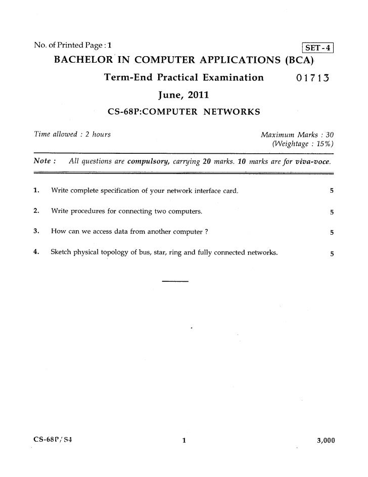 No. of Printed Page : 1                                                            SET - 4     BACHELOR IN COMPUTER APPLIC...