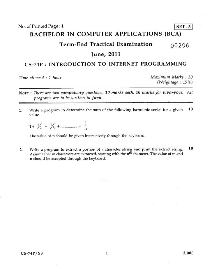 No. of Printed Page :1                                                                       SET-3      BACHELOR IN COMPUT...