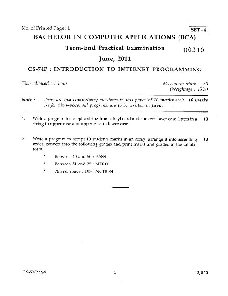 No. of Printed Page :1                     SET-4      BACHELOR IN COMPUTER APPLICATIONS (BCA)                      Term-En...