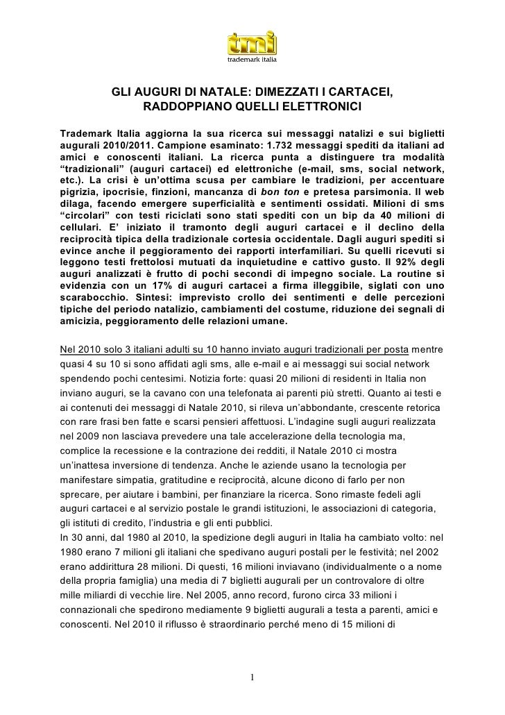 GLI AUGURI DI NATALE: DIMEZZATI I CARTACEI,                 RADDOPPIANO QUELLI ELETTRONICITrademark Italia aggiorna la sua...