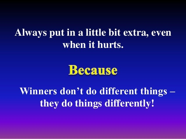 We don't have to be 10 times smarter than our competitors. All we need is the edge. LOSERS COUNT THE DAYS. WINNERS MAKE TH...
