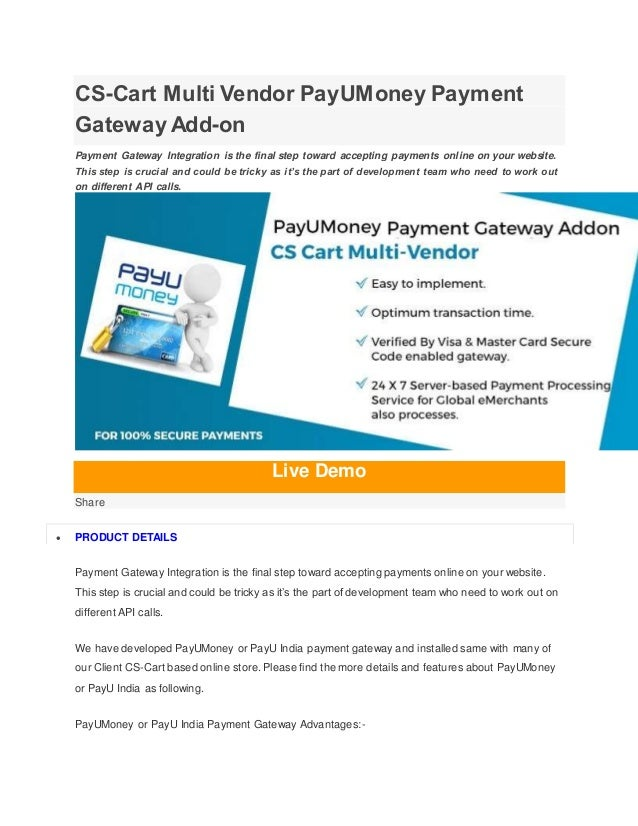 Cs cart multi vendor pay u-money payment gateway add-on