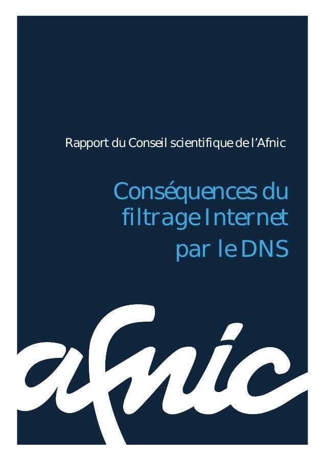 Conséquences du filtrage Internet par le DNS                              1Rapport du Conseil scientifique de l'Afnic     ...