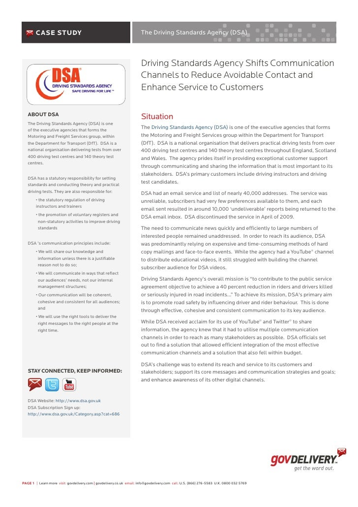 Case Study                                                     The Driving Standards Agency (DSA)                         ...