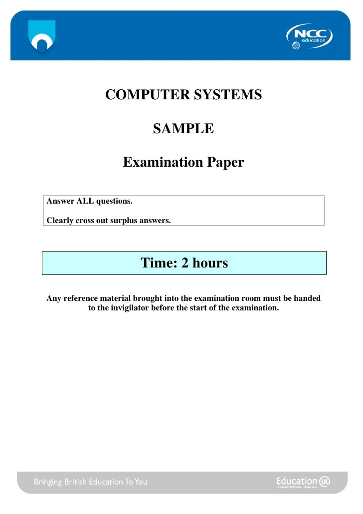 COMPUTER SYSTEMS                             SAMPLE                    Examination PaperAnswer ALL questions.Clearly cross...
