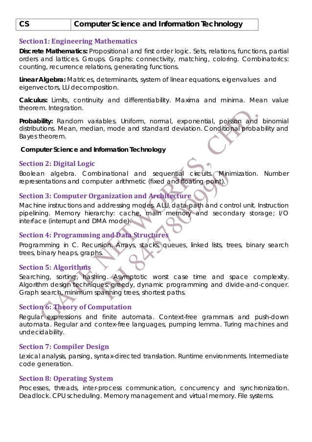 GATE Syllabus For CSE and IT Engineering Students