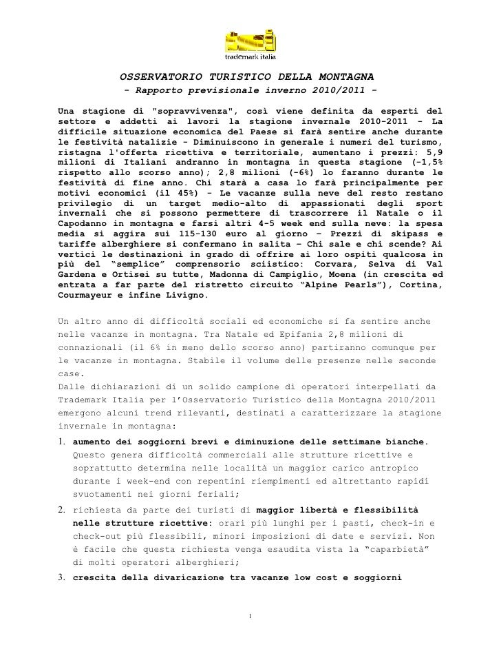 """OSSERVATORIO TURISTICO DELLA MONTAGNA            - Rapporto previsionale inverno 2010/2011 -Una stagione di """"sopravvivenza..."""