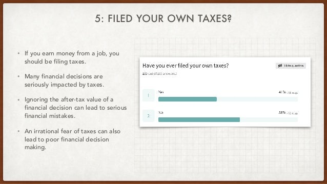 5: FILED YOUR OWN TAXES? • If you earn money from a job, you should be filing taxes. • Many financial decisions are seriou...