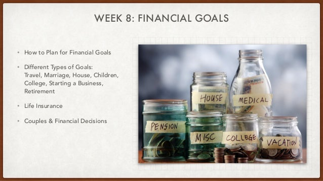 WEEK 8: FINANCIAL GOALS • How to Plan for Financial Goals • Different Types of Goals: Travel, Marriage, House, Children, C...