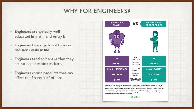 WHY FOR ENGINEERS? • Engineers are typically well educated in math, and enjoy it. • Engineers face significant financial d...