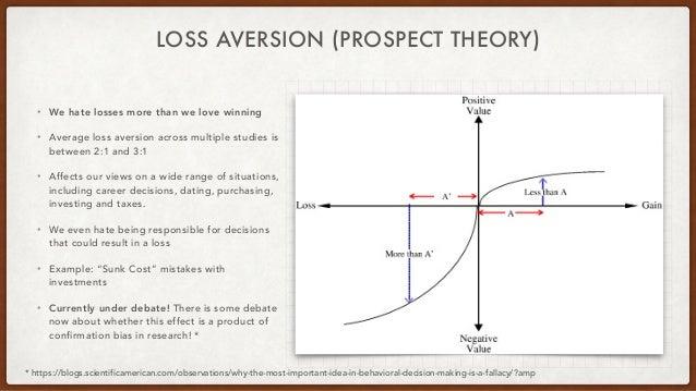 LOSS AVERSION (PROSPECT THEORY) • We hate losses more than we love winning • Average loss aversion across multiple studies...