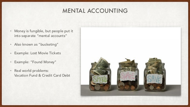 """MENTAL ACCOUNTING • Money is fungible, but people put it into separate """"mental accounts"""" • Also known as """"bucketing"""" • Exa..."""