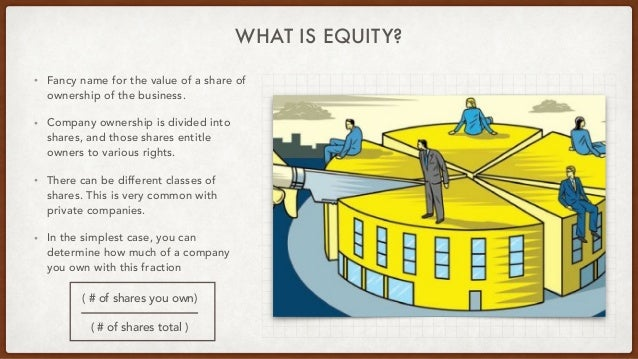 WHAT IS EQUITY? • Fancy name for the value of a share of ownership of the business. • Company ownership is divided into sh...