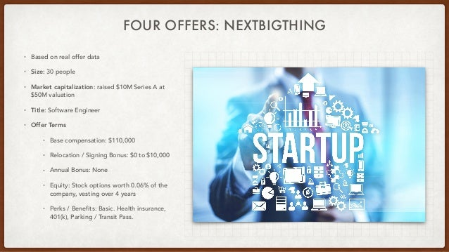 FOUR OFFERS: NEXTBIGTHING • Based on real offer data • Size: 30 people • Market capitalization: raised $10M Series A at $5...