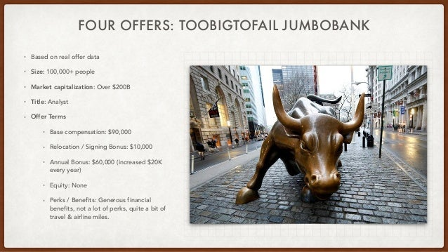 FOUR OFFERS: TOOBIGTOFAIL JUMBOBANK • Based on real offer data • Size: 100,000+ people • Market capitalization: Over $200B...