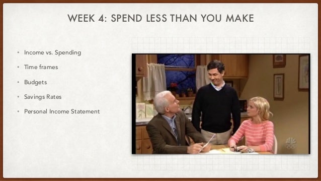 WEEK 4: SPEND LESS THAN YOU MAKE • Income vs. Spending • Time frames • Budgets • Savings Rates • Personal Income Statement