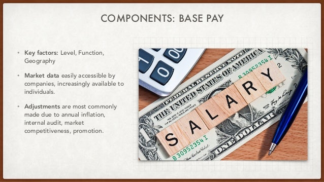 COMPONENTS: BASE PAY • Key factors: Level, Function, Geography • Market data easily accessible by companies, increasingly ...
