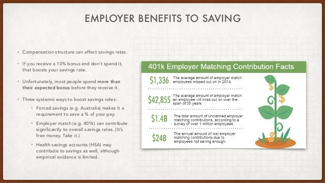 EMPLOYER BENEFITS TO SAVING • Compensation structure can affect savings rates. • If you receive a 10% bonus and don't spen...