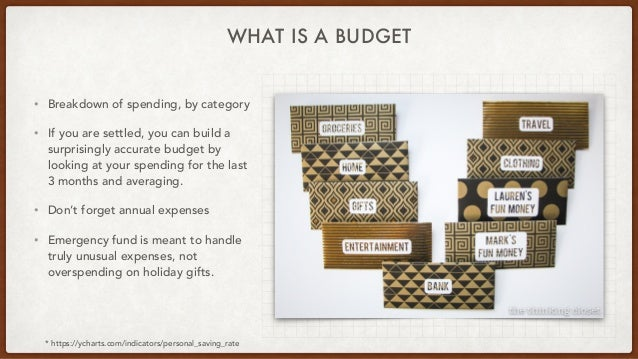 WHAT IS A BUDGET • Breakdown of spending, by category • If you are settled, you can build a surprisingly accurate budget b...