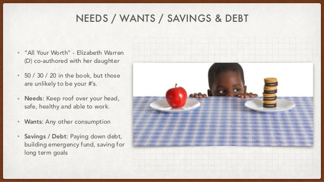 """NEEDS / WANTS / SAVINGS & DEBT • """"All Your Worth"""" - Elizabeth Warren (D) co-authored with her daughter • 50 / 30 / 20 in t..."""