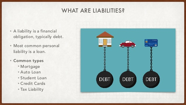 WHAT ARE LIABILITIES? • A liability is a financial obligation, typically debt. • Most common personal liability is a loan....