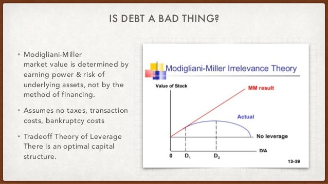 IS DEBT A BAD THING? • Modigliani-Miller market value is determined by earning power & risk of underlying assets, not by t...