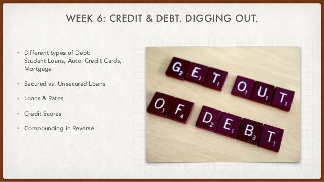 WEEK 6: CREDIT & DEBT. DIGGING OUT. • Different types of Debt: Student Loans, Auto, Credit Cards, Mortgage • Secured vs. U...