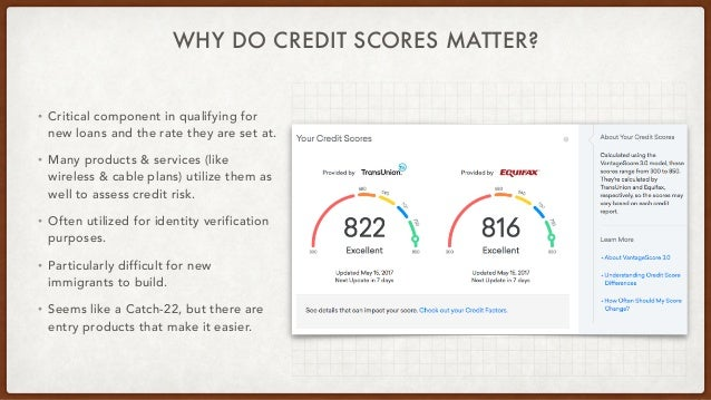 WHY DO CREDIT SCORES MATTER? • Critical component in qualifying for new loans and the rate they are set at. • Many product...