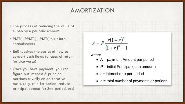 AMORTIZATION • The process of reducing the value of a loan by a periodic amount. • PMT(), PPMT(), IPMT() built into spread...
