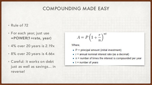 COMPOUNDING MADE EASY • Rule of 72 • For each year, just use =POWER(1+rate, year) • 4% over 20 years is 2.19x • 8% over 20...