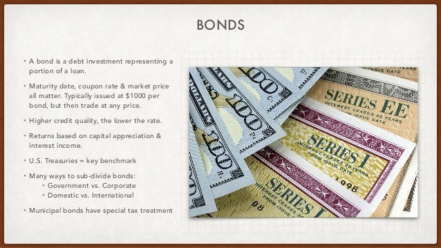 BONDS • A bond is a debt investment representing a portion of a loan. • Maturity date, coupon rate & market price all matt...