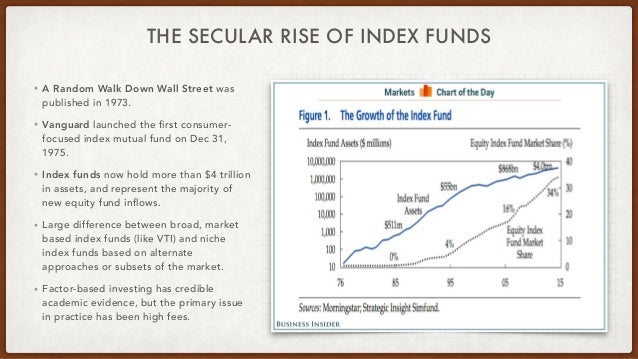THE SECULAR RISE OF INDEX FUNDS • A Random Walk Down Wall Street was published in 1973. • Vanguard launched the first cons...
