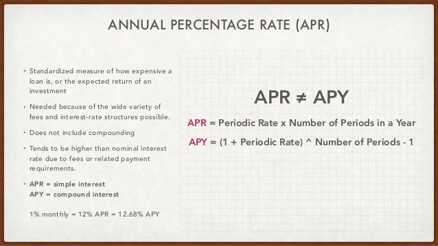 ANNUAL PERCENTAGE RATE (APR) • Standardized measure of how expensive a loan is, or the expected return of an investment • ...