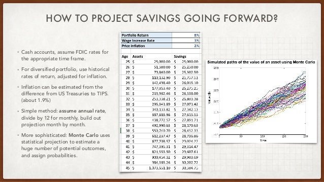 HOW TO PROJECT SAVINGS GOING FORWARD? • Cash accounts, assume FDIC rates for the appropriate time frame. • For diversified...