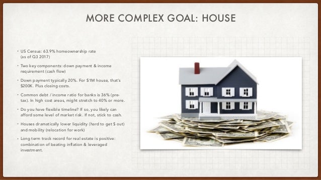 MORE COMPLEX GOAL: HOUSE • US Census: 63.9% homeownership rate (as of Q3 2017) • Two key components: down payment & income...