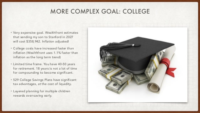 MORE COMPLEX GOAL: COLLEGE • Very expensive goal. Wealthfront estimates that sending my son to Stanford in 2027 will cost ...
