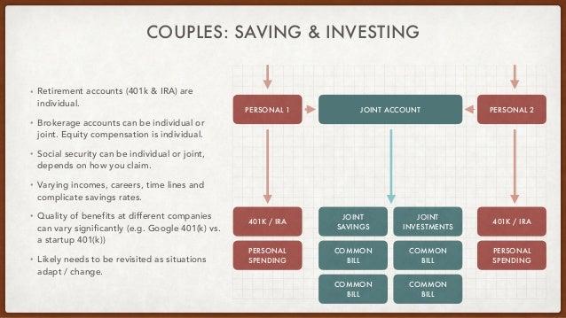 COUPLES: SAVING & INVESTING • Retirement accounts (401k & IRA) are individual. • Brokerage accounts can be individual or j...