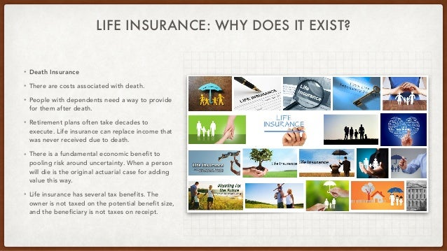 LIFE INSURANCE: WHY DOES IT EXIST? • Death Insurance • There are costs associated with death. • People with dependents nee...