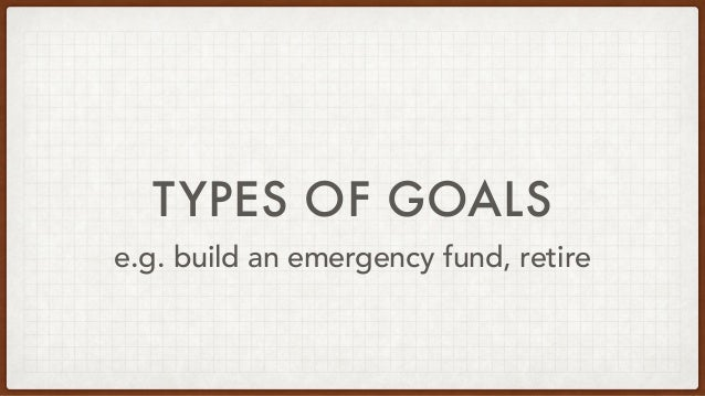 TYPES OF GOALS e.g. build an emergency fund, retire