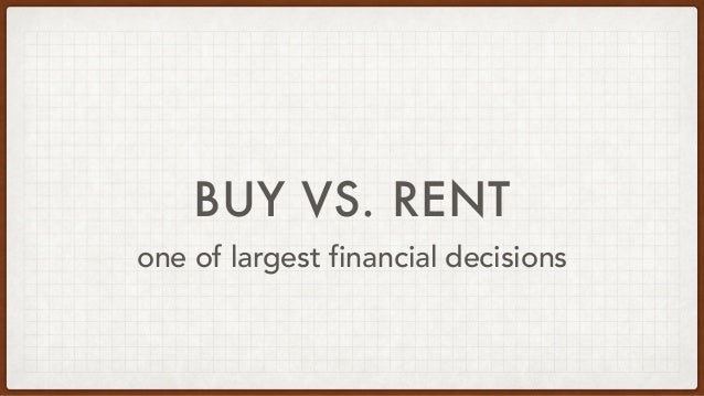 BUY VS. RENT one of largest financial decisions