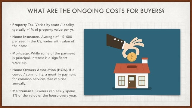 WHAT ARE THE ONGOING COSTS FOR BUYERS? • Property Tax. Varies by state / locality, typically ~1% of property value per yr....