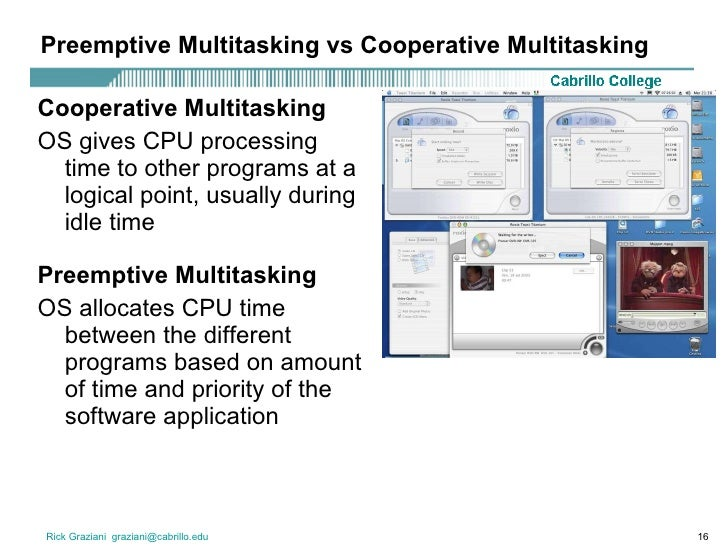 cooperative vs preemptive multitasking But this isn't because the iphone os can't multitask, as the iphone os  to  create a windowing environment that employed cooperative multitasking  this  style of preemptive multitasking, but also employs multiprocessing,.