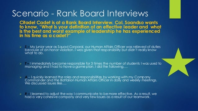 10 scenario rank board interviews
