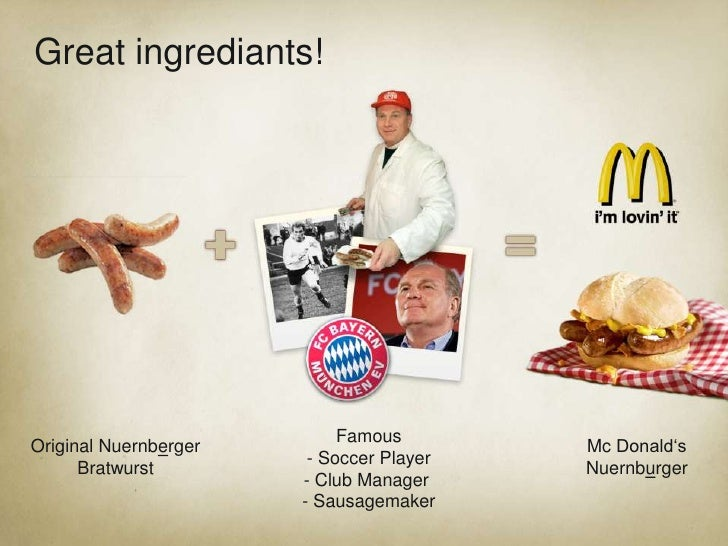 Great ingrediants! <br />Uli Hoeness<br />ourgermanfavourit<br />Famous- Soccer Player<br />- Club Manager <br />- Sausage...