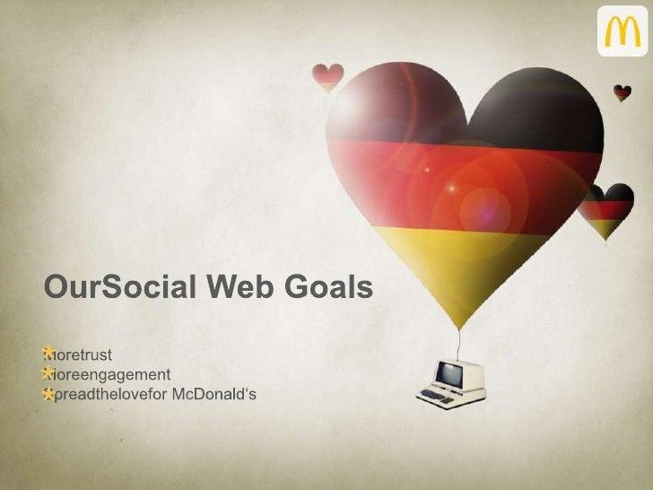 OurSocial Web Goals<br />Moretrust<br />Moreengagement<br />Spreadthelovefor McDonald's<br />*<br />*<br />*<br />