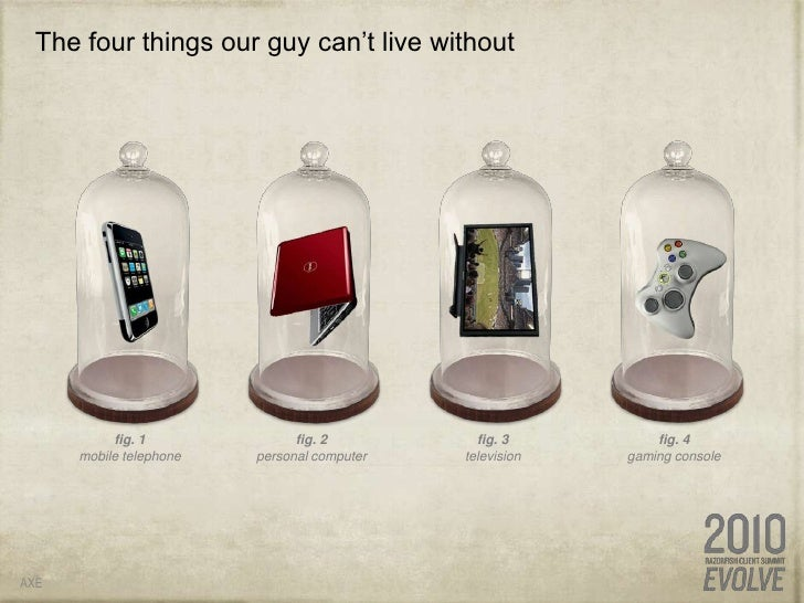 The four things our guy can't live without<br />AXE<br />fig. 1<br />mobile telephone<br />fig. 2<br />personal computer<b...