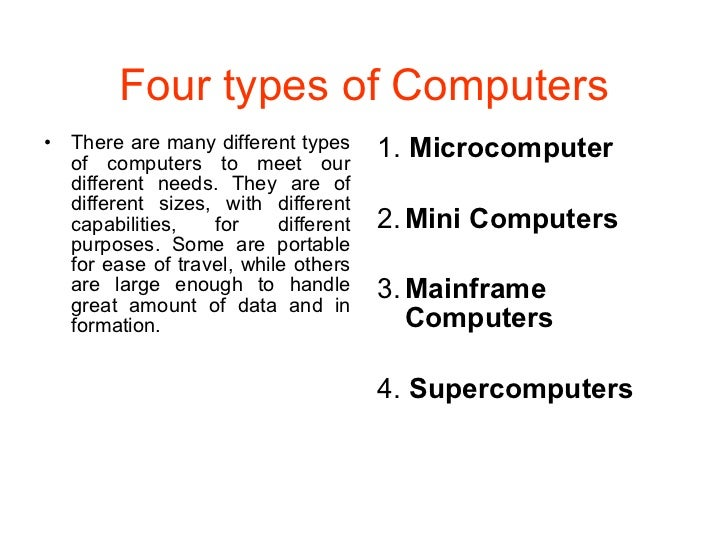 four types of requirement for computer An embedded system is a combination of computer hardware and software as  with  functional requirements and performance of the microcontroller   embedded systems are classified into four categories based on their.