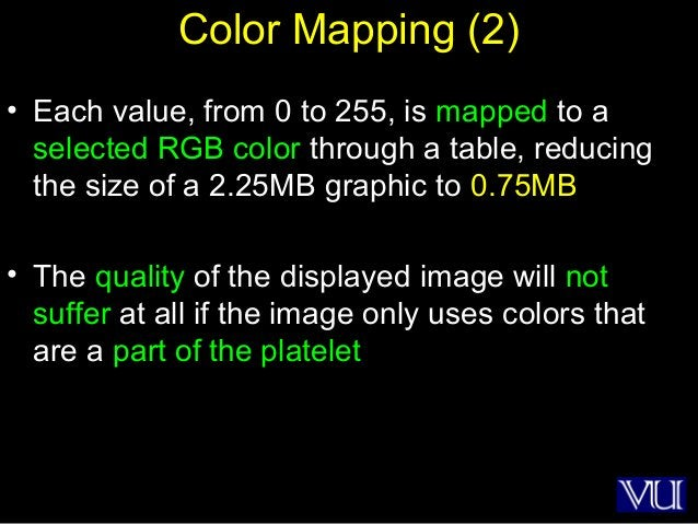 24 Color Mapping (2) • Each value, from 0 to 255, is mapped to a selected RGB color through a table, reducing the size of ...