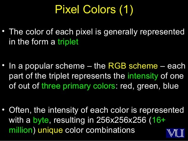 21 Pixel Colors (1) • The color of each pixel is generally represented in the form a triplet • In a popular scheme – the R...